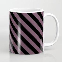Eggplant Violet and Black Diagonal LTR Stripes Coffee Mug