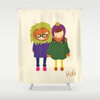 hug Shower Curtains featuring Hug by Elena Kouvaros