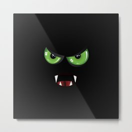 Evil face with green eyes Metal Print