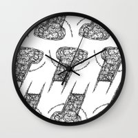the wire Wall Clocks featuring Wire Child by Peerro