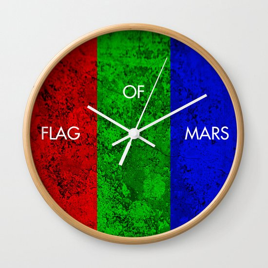THE FLAG OF MARS Wall Clock