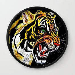 Tiger Stalking Prey Oil Painting Wall Clock