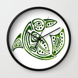 Dauphin tatouage tribal vert en rond -green tatoo dolphin Wall Clock