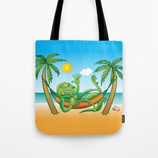 Lazy Iguana Summer on the Beach Tote Bag