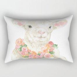 Baby Lamb Floral Watercolor Farm Animal Rectangular Pillow
