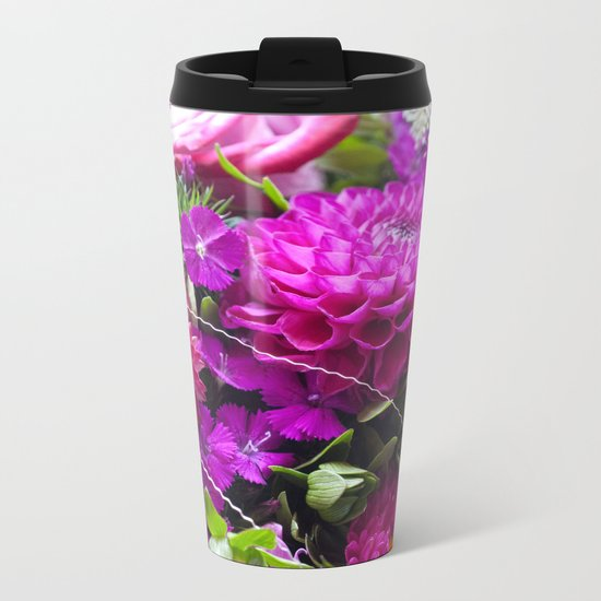 Pink flower bouquet #1 #decor #art #society6 Metal Travel Mug