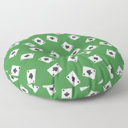 Playing cards clubs suit on green Floor Pillow