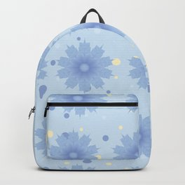 Blue shades blend flowers with polka dot background Backpack