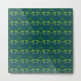 Green Wheat Floral Metal Print