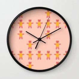 Pink bear print Wall Clock