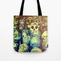 skulls Tote Bags featuring skulls by Bunny Noir