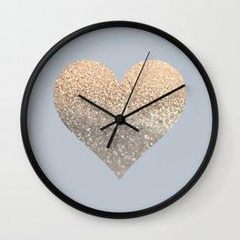 GATSBY GOLD HEART GREY II November Skies Wall Clock