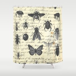 Insect Study on antique journal paper Shower Curtain