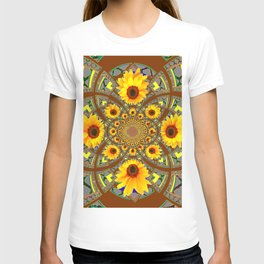 OPTICAL ART BROWN-GREY SUNFLOWERS T-shirt