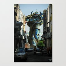 Mech behind a back alley Canvas Print