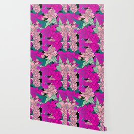 bright and colorful design with peonies Wallpaper