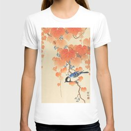 Colorful bird sitting on a tree branch - Japanese vintage woodblock print art  T-shirt