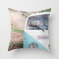 volkswagen Throw Pillows featuring Vintage Volkswagen Van by Leslee Mitchell