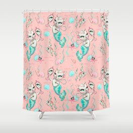 Merkittens with Pearls on blush Shower Curtain