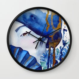 blue geisha Wall Clock