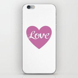 Love Script Pink Heart Design iPhone Skin