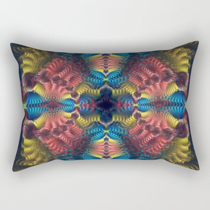 Mirrored abstract with tribal patterns and warm colors Rectangular Pillow