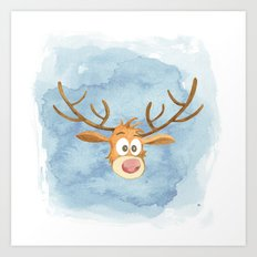 Reindeer Watercolor Christmas Art Print