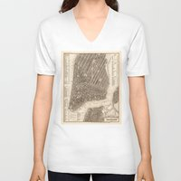 new york map V-neck T-shirts featuring New York Map by Le petit Archiviste