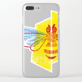 Be Safe - Save Bees linocut Clear iPhone Case