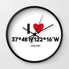 I LOVE OAKLAND Wall Clock
