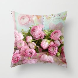 Shabby Chic Cottage Pink Floral Ranunculus Peonies Roses Print Home Decor Throw Pillow
