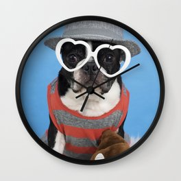 Little Shit Boston Terrier Wall Clock