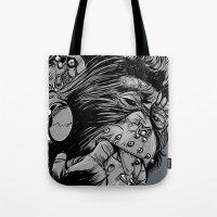 gladiator Tote Bags featuring PNKMNKY by karakalemustadi