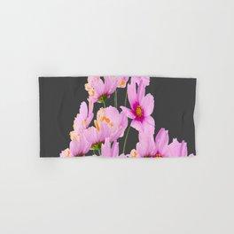 PASTEL FUCHSIA PINK COSMOS FLOWERS  ON GREY COLOR Hand & Bath Towel