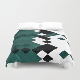 Emerald Green White Black Geometrical Pattern Duvet Cover