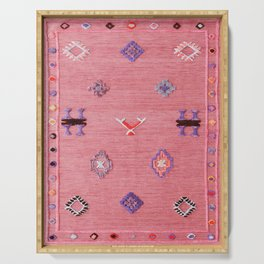 Pink Oriental Traditional Boho Moroccan Style Design Artwork Serving Tray