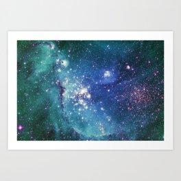 Turquoise Glitter Galaxy Art Print