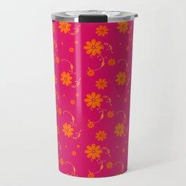 Orange Daisy Flowers on Hot Pink Background Travel Mug