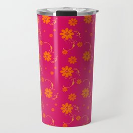 Orange Daisy Flowers on Hot Pink Background Travel Mug