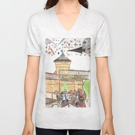 1561 Aerial Battle Over Nuremberg Reimagined from the Handwerkerhof Unisex V-Neck