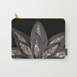 Gray Black Agave with Rose Gold Glitter #1 #shiny #tropical #decor #art #society6 Carry-All Pouch