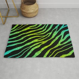 Ripped SpaceTime Stripes - Cyan/Lime Rug