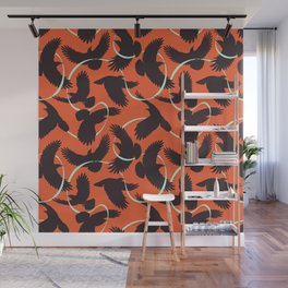 Crows with Ribbon Wall Mural