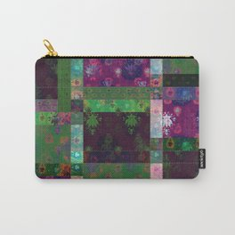 Lotus flower green and maroon stitched patchwork - woodblock print style pattern Carry-All Pouch
