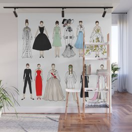Outfits of Audrey Fashion (White) Wall Mural