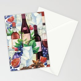Watercolor wine glasses and bottles decorated with delicious food Stationery Cards