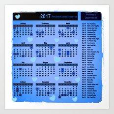 Blue hearts 2017 calendar Art Print