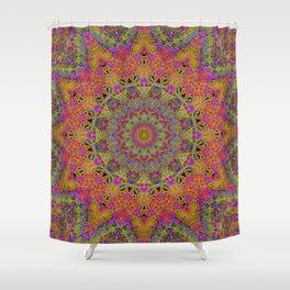 neon mandala Shower Curtain