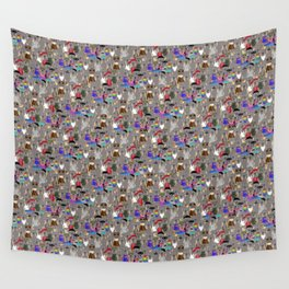 Small Print Dog Weim Nation Grey Ghost Weimaraner Hand-painted Pet Pattern on Khaki Beige Wall Tapestry