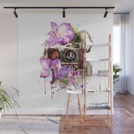 Camera in flowers Wall Mural